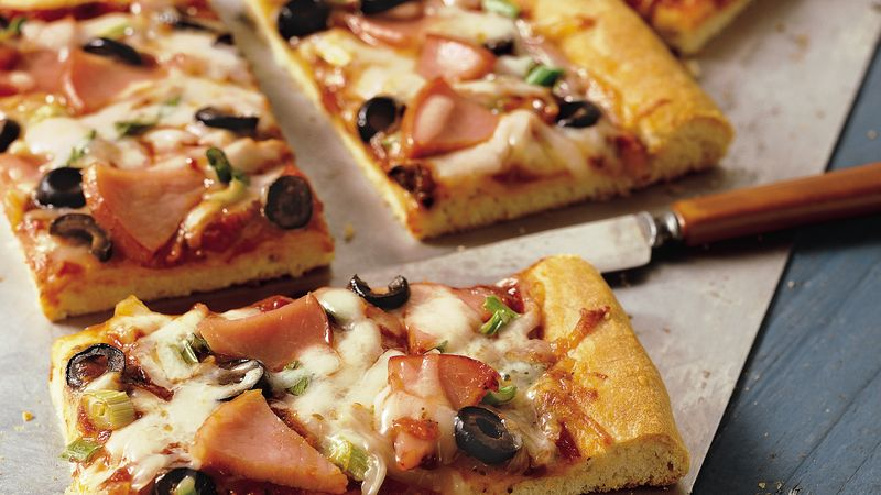 thick crust pizza recipe bettycrocker com