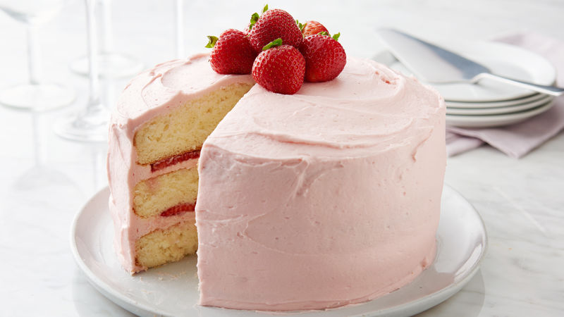 Strawberry Frosted Layer Cake