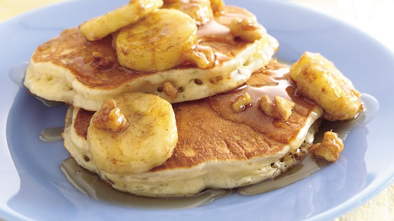 Oatmeal Pancakes with Banana-Walnut Syrup