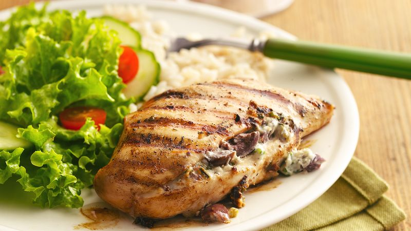 Greek Garlic and Herb-Stuffed Grilled Chicken Breasts ...