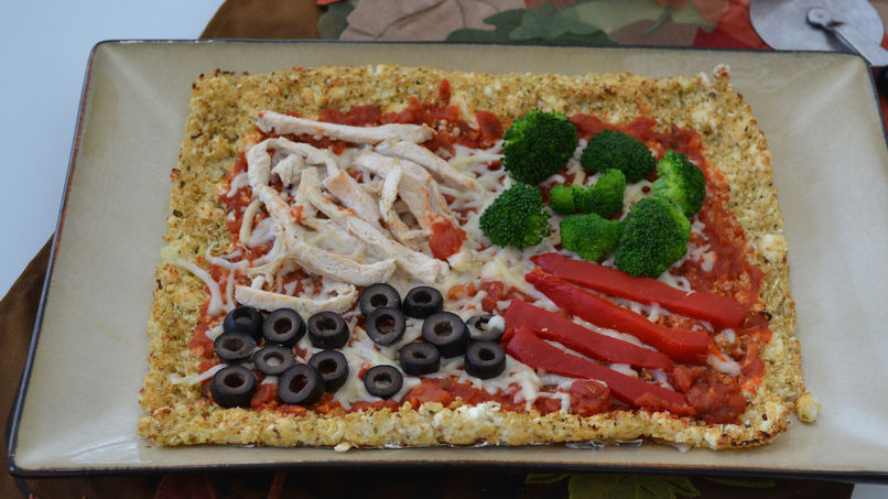 Cauliflower Pizza with Turkey and Vegetables