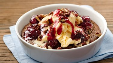 Warm Hazelnut Brownie Pudding Sundaes