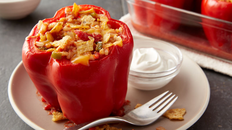Cheesy Southwest Chicken Stuffed Red Peppers