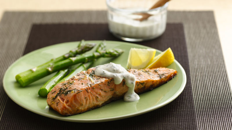 Grilled Salmon With Lemon Dill Sauce