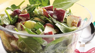 Spinach Waldorf Salad with Cinnamon-Apple Dressing