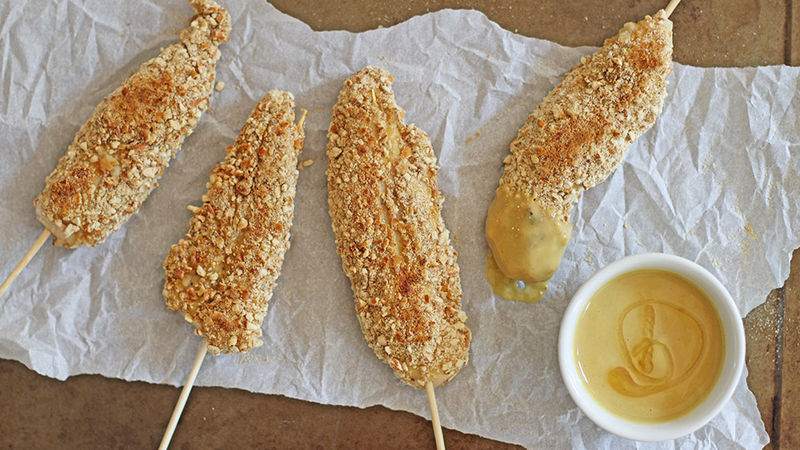 Pretzel-Crusted Chicken on a Stick