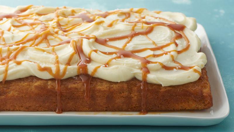 Salted Caramel Carrot Poke Cake