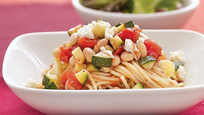 Spaghetti with Zucchini and Beans