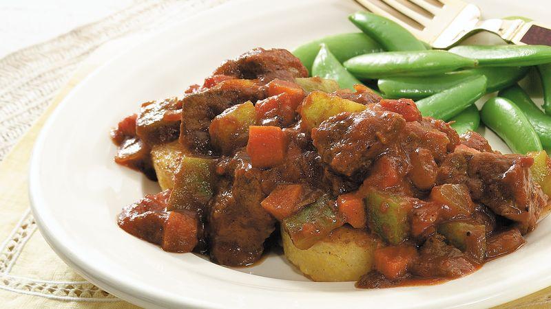 Slow-Cooker Beef Ragout on Polenta