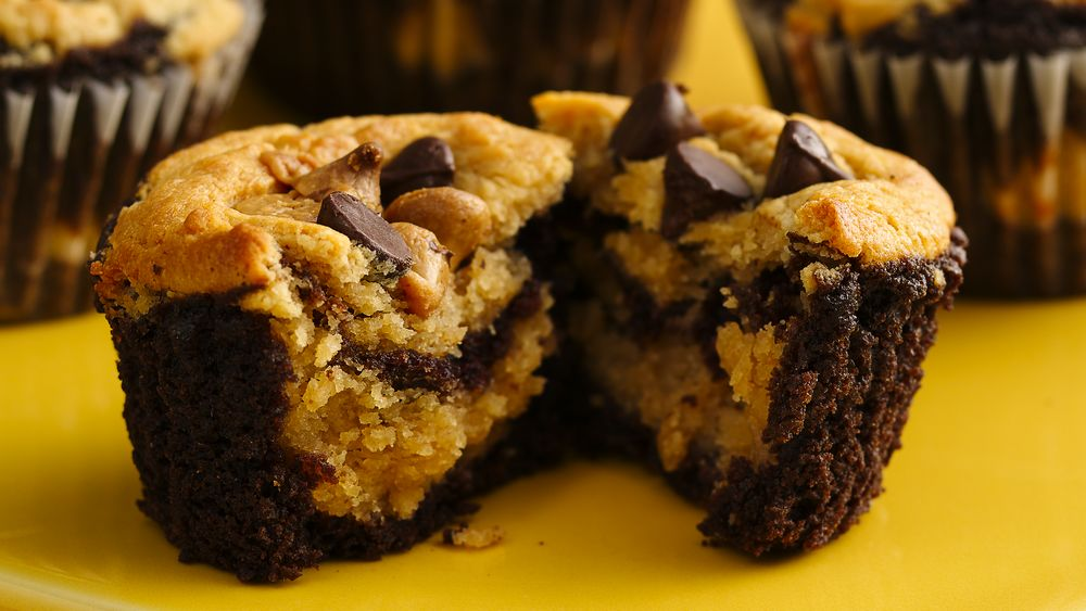 Chocolate-Peanut Butter Layered Cupcakes recipe from ...