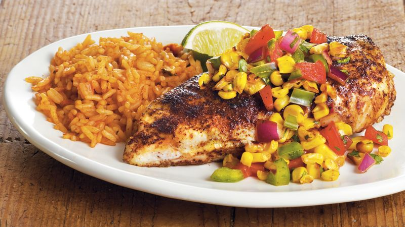 Tex Mex Chicken With Corn Salsa Recipe Bettycrocker Com