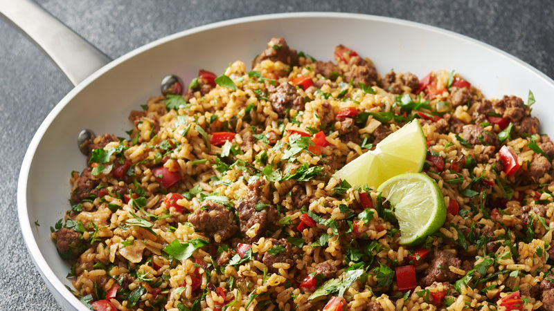 Chimichurri Beef and Rice Skillet