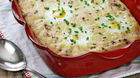 Sausage and Grits Casserole with Baked Eggs