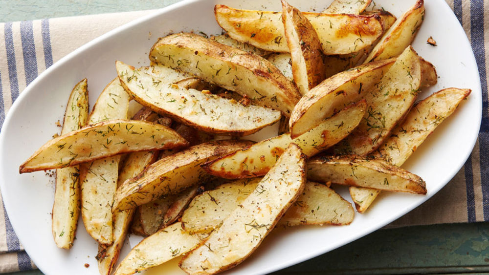 Roasted Dill Pickle Potato Wedges
