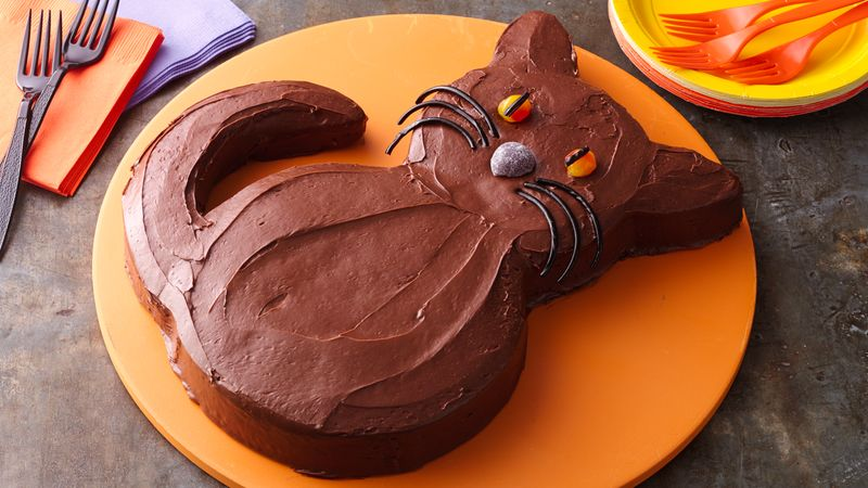 Stupendous Halloween Black Cat Cake Recipe Bettycrocker Com Personalised Birthday Cards Arneslily Jamesorg