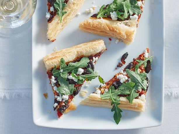Caramelized Mushroom Tart with Tomato Jam, Goat Cheese and Fresh Oregano