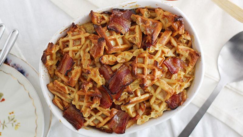 Maple-Bacon Waffle Bake