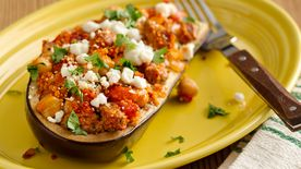 Healthy Turkey and Chick Pea-Stuffed Eggplant