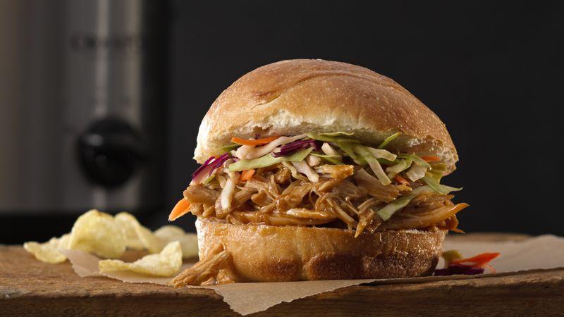 Slow Cooker Asian Pulled Chicken Sandwiches Recipe Bettycrocker Com