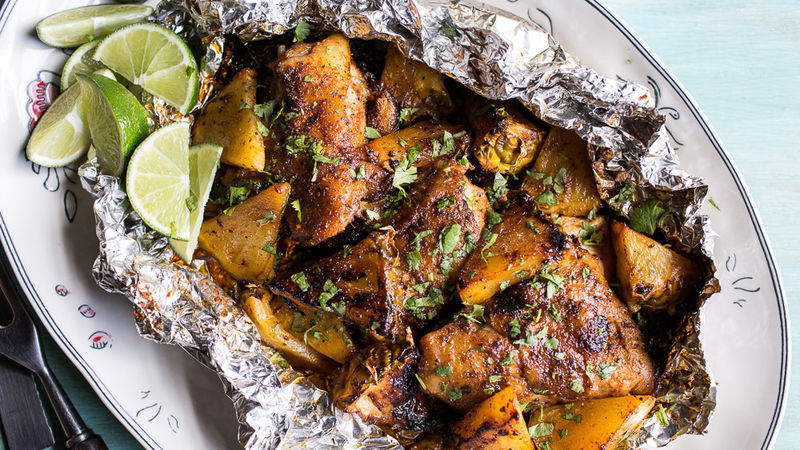 Jerk Chicken and Pineapple Foil Packs