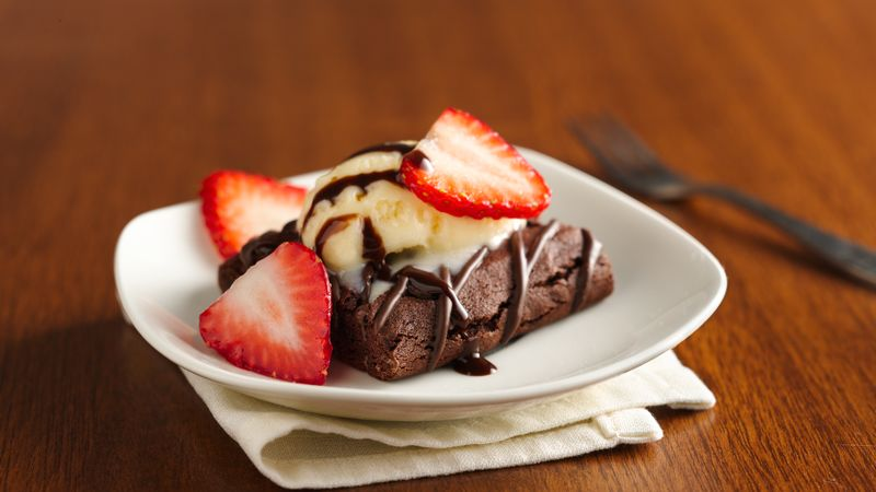 Strawberry Yogurt Topped Brownie