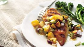 Gluten-Free Grilled Chicken Breasts with Cucumber Peach Salsa