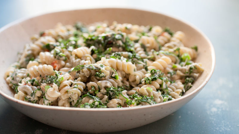 Creamy Kale Caesar Pasta Salad