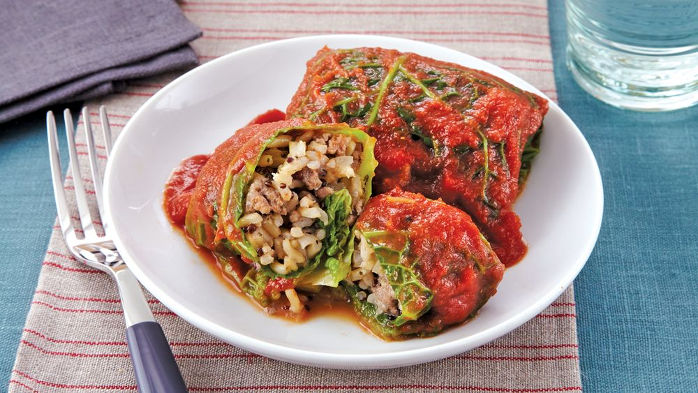 Slow-Cooker Beef and Quinoa Cabbage Rolls