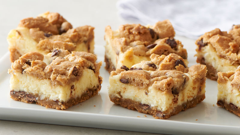 chocolate chip cheesecake bars recipe pillsbury com