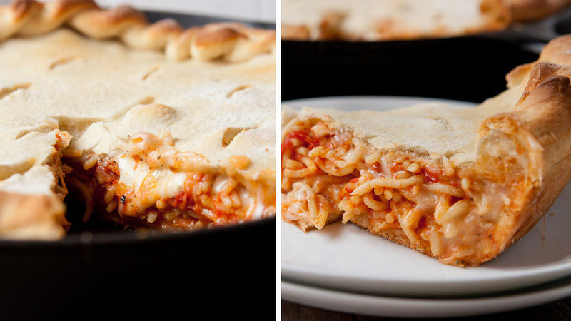 Leftover Pasta-Stuffed Pizza Pie