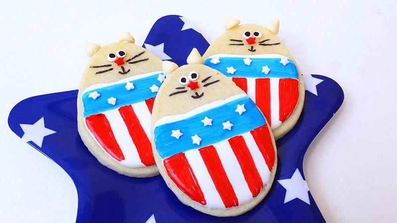 4th of July Cat Sugar Cookies