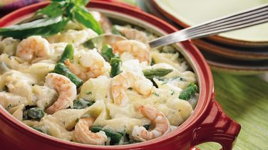 Asparagus, Shrimp and Shells Bake