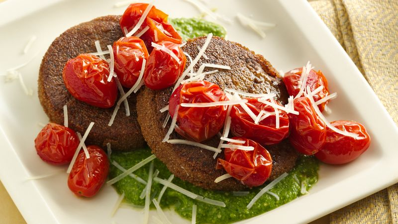 Gluten-Free Teff Cakes with Roasted Tomatoes and Arugula Pesto