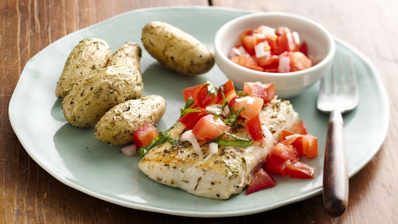 Skinny Seared Fish with Fresh Tomato Salsa