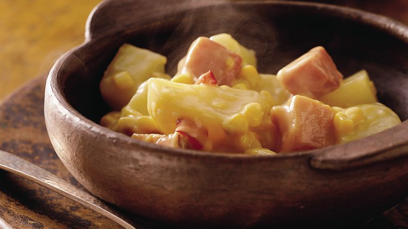 Slow-Cooker Corn, Ham and Potato Scallop
