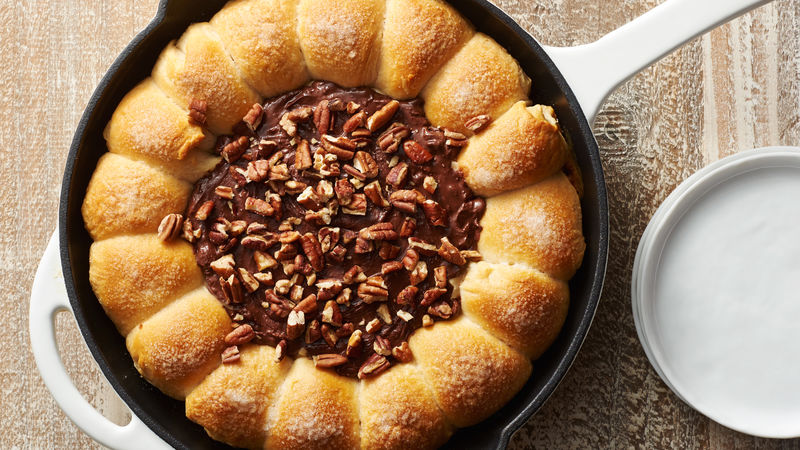 Turtle Skillet Dip with Rolo™-Stuffed Biscuits