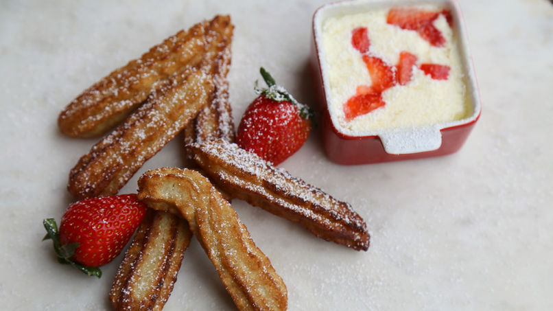 Strawberry Churros with Cream Cheese Dip