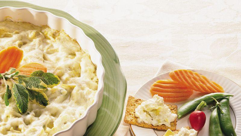 Lite Cheesy Artichoke Dip