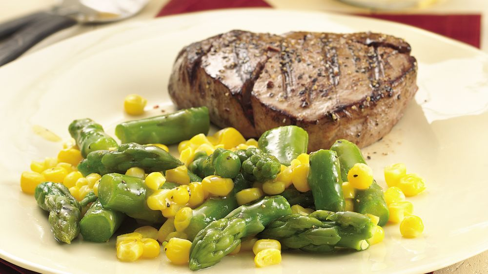 Asparagus and Corn with Honey-Mustard Glaze