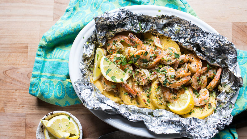 Garlic Butter and Shrimp Foil Packs