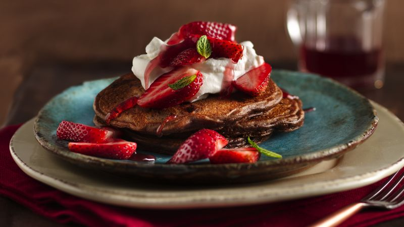 Double Chocolate Strawberry Pancakes Recipe Bettycrocker Com