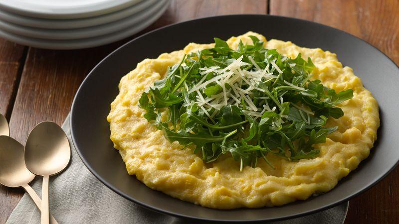 Creamy Polenta with Corn, Parmesan and Arugula
