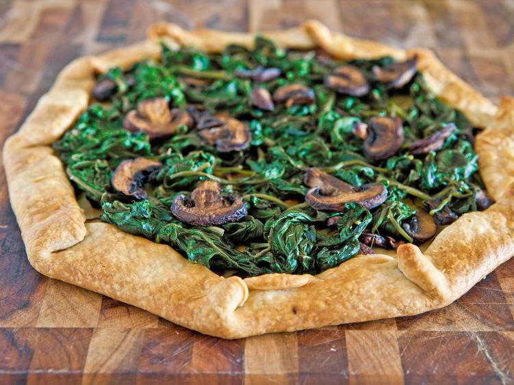 Spinach Mushroom No Pan Pie