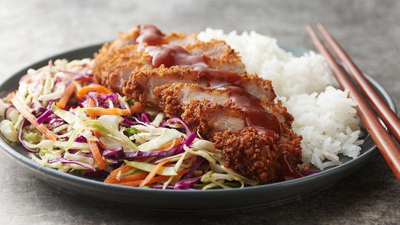 Tonkatsu Pork with Asian Slaw