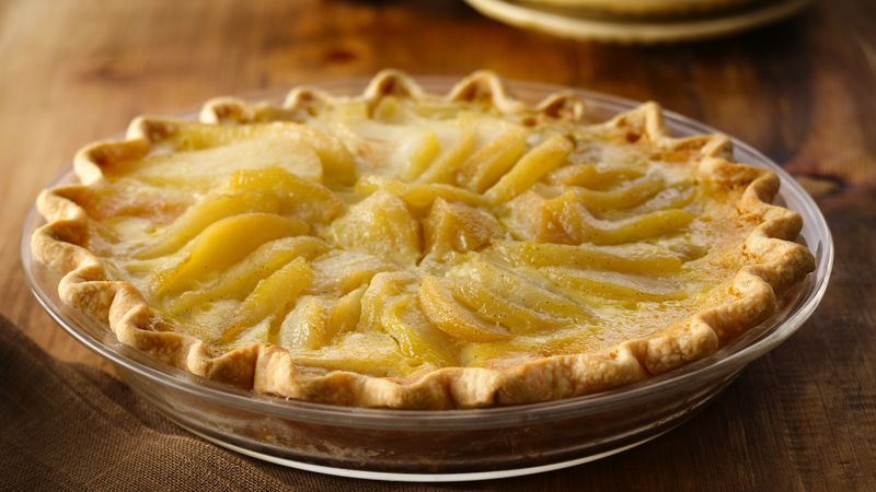 Elegant Pear Custard Pie Recipe Bettycrocker Com