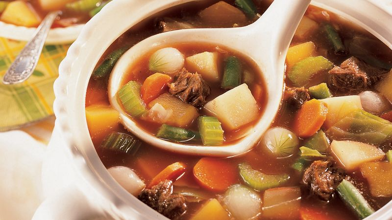 Old Fashioned Beef Vegetable Soup Recipe Bettycrocker Com
