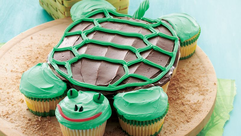Sensational Pull Apart Turtle Cupcakes Recipe Bettycrocker Com Funny Birthday Cards Online Overcheapnameinfo