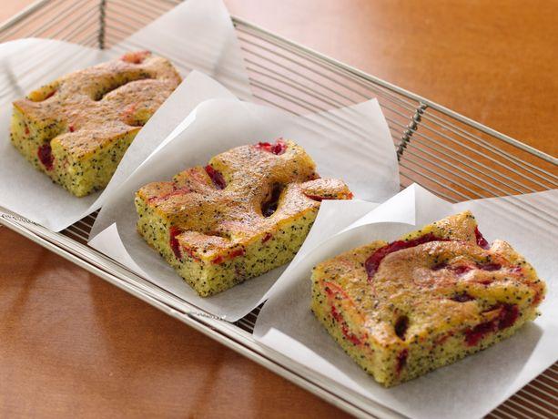 Cherry Lemon Poppy Seed Coffee Cake Squares