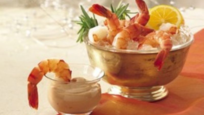 Shrimp with Bourbon Cocktail Sauce