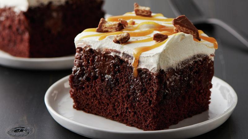 Salted Caramel Kit Kat Poke Cake